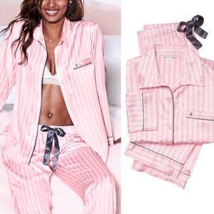 VICTORIAS SECRET S Silk Stripes Pink Pajamas Set